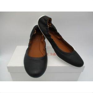 SEE BY CHLOE black leather flats sz 40 NWB